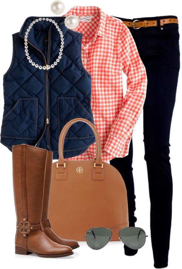 gingham shirt with vest and jeans. Don't forget the pearls! |Southern prep