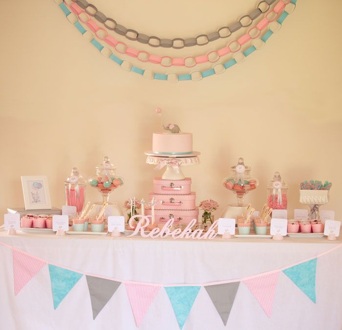 Elephant-themed dessert table would be perfect for a baby shower (for a girl) or a little girl's birthday party