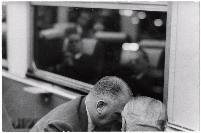 Robert Frank,  [Businessmen conferring aboard the Pennsylvania's Afternoon Congressional (formerly known as the Congressional Limited) commuter train] 1955