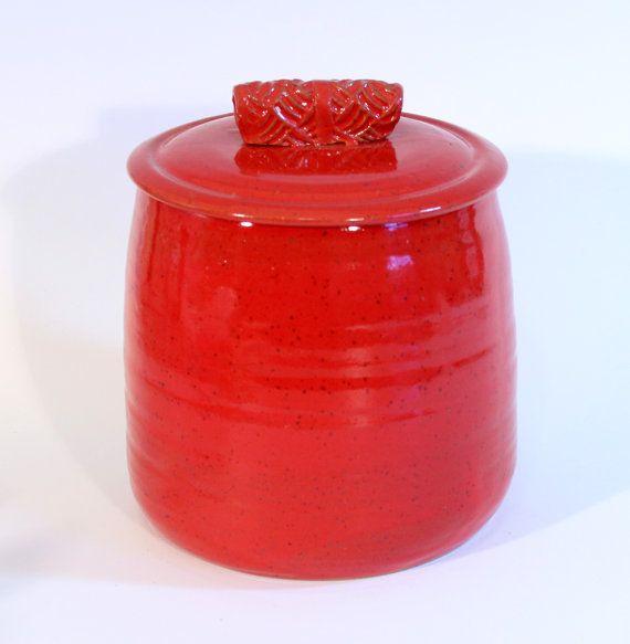Large Red Cookie Jar Kitchen Canister Ceramic Lidded Jar