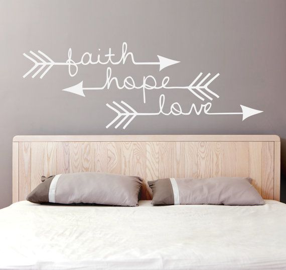 Faith Hope Love - Arrow Vinyl Decal (Interior & Exterior Available) Bedroom Wall Decor, Indie / Boho Decor, Feather and Arrow, Tribal Design by levinyl. Explore more products on http://levinyl.etsy.com