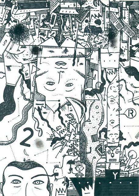 Dibujo expandido: A02-01-2012. Tinta sobre hoja de papel A4. Yamandú Cuevas, 2012.