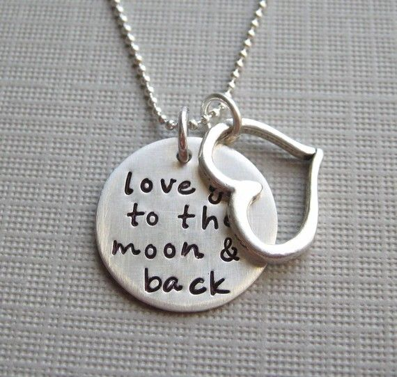 """To the moon and back: Back Necklaces, Girls, Favorite Things, """"To The Moon And Back"""", Goodbye Gifts, Sterling Silver Necklaces, Silver Pendants, Kid, Heart Charms"""