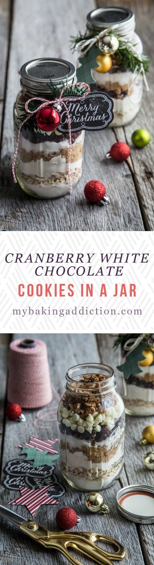Cranberry White Chocolate Cookies in a Jar from My Baking Addiction