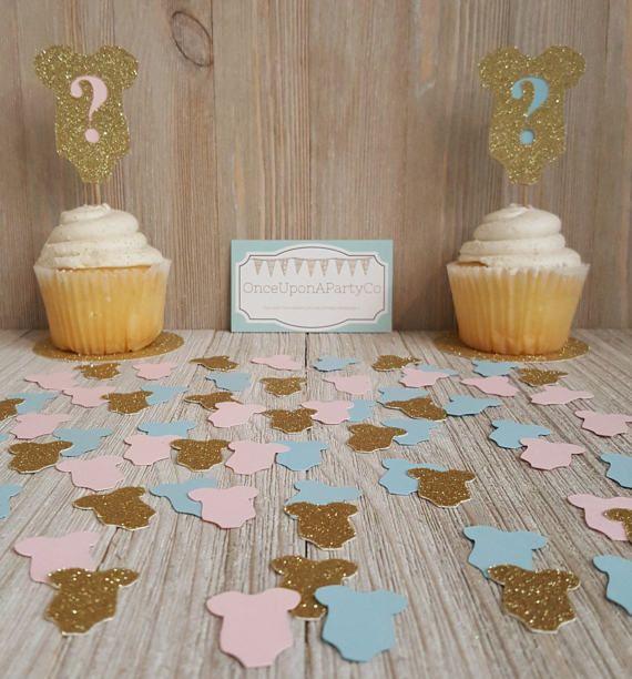Gender Reveal Cupcake Toppers  Gender Reveal ideeën  Cupcake