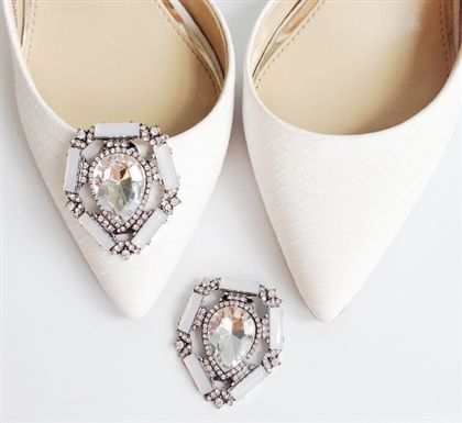 Rhinestone bridal crystal shoe clips by Absolutely Audrey. Give shoes an instant update and customize your look. Original design from Absolutely Audrey https://www.absolutelyaudrey.com/Bridal-Shoe-clips-crystal-rhinestone-Heather-p/sc0040-crstl.htm