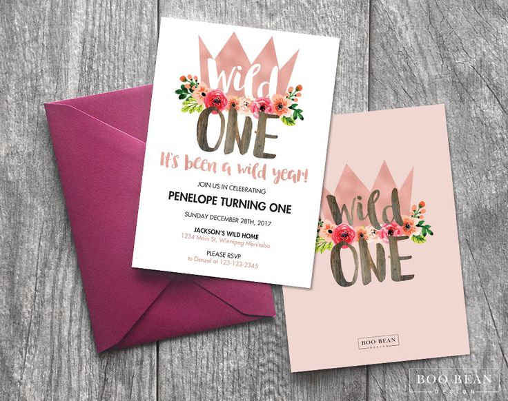 Rose Gold Girls Wild One First Birthday Invitation | 1st birthday Invitation Floral invitation | Rose Gold Invitation | Wild one Invitation by BooBeanDesign on Etsy