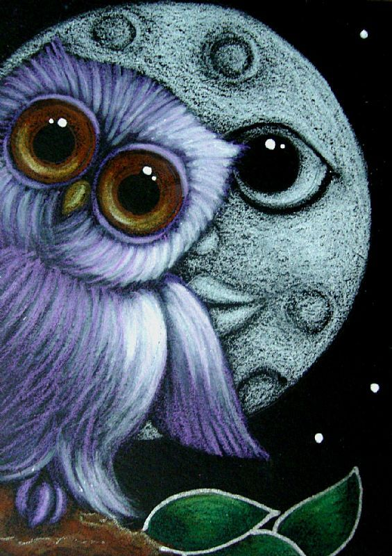 Baby Moon Paintings | BABY VIOLET OWL - MOON, WHERE ARE YOU? - by Cyra R. Cancel from