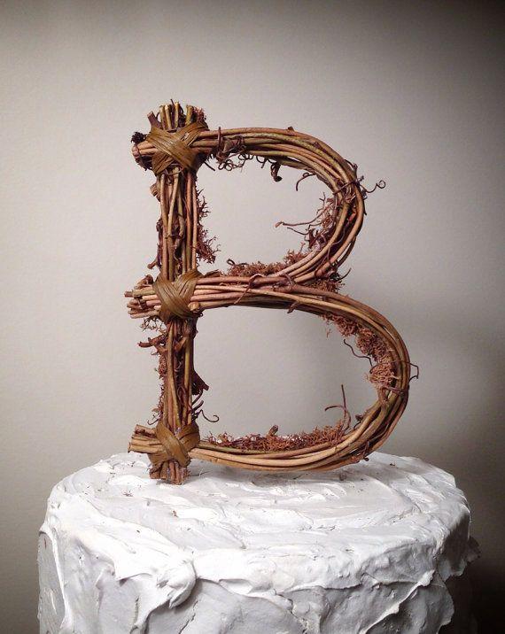Rustic Twig Wedding Cake Toppers