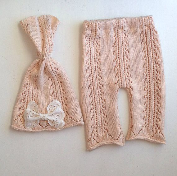 Pale peach open knit upcycle newborn pant with beanie set, eyelet bow, photo prop set baby girl
