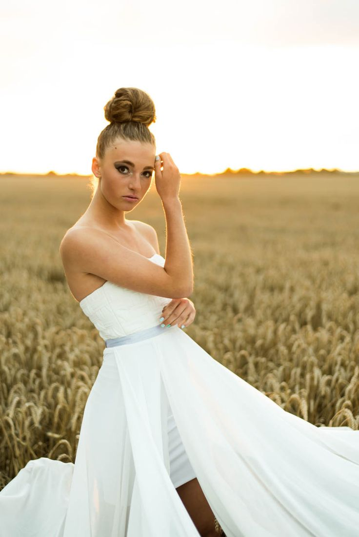 White dress, wedding dress, draped chiffon. Summer love nature - Danish design by LouiseChristine, Danish Model, and photo by NC Dall