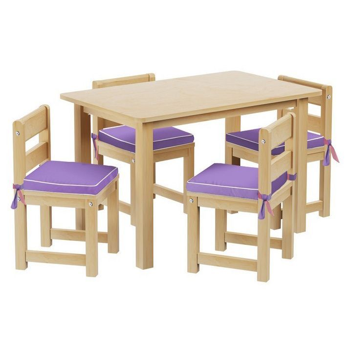 Maxtrix Kids Play Table with Four Chairs with Reversible Purple/ Pink Seat Pads (Natural)