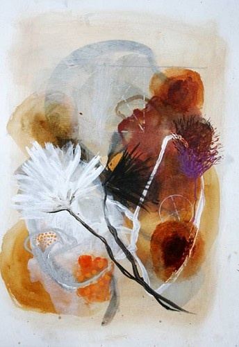 """Influenced by equal parts botany, biology, and the Louisiana Bayou outside her door, Allison Stewart creates imagery using abstracted brush strokes of glazes and varnishes over a virtual armature of charcoal. """"Brush Creek #14"""" is part of a series of images that explore the plant life within the swampland."""