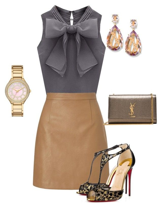 """Untitled #494"" by angela-vitello ❤ liked on Polyvore featuring Lipsy, Christian Louboutin, Yves Saint Laurent and Michael Kors"