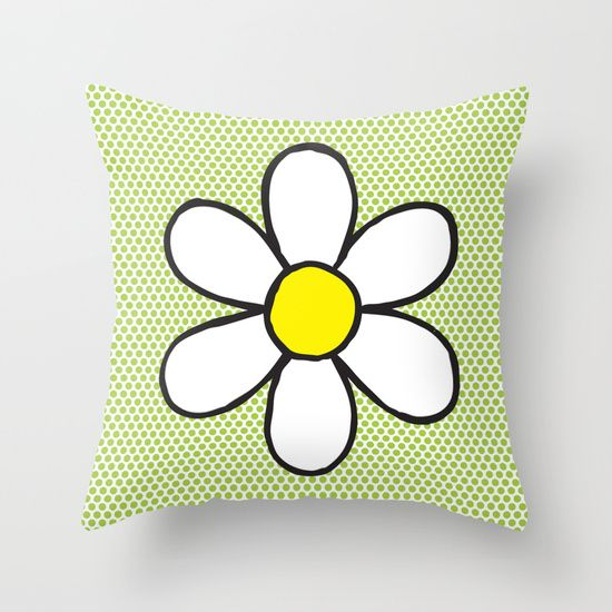 Throw Pillow - Daisy on Green #popart #homedecor #society6