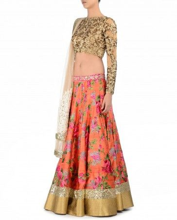 Floral Printed Orange Lengha Set with Sequined Blouse - Apparel