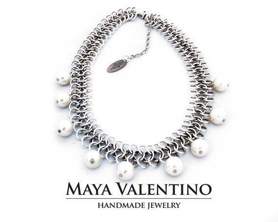 Oxidized Silver Necklace Daily Jewelry Prom by MayaValentino
