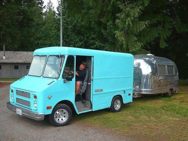 Step van and Airstream.   Vintage Campers, Camping and ...