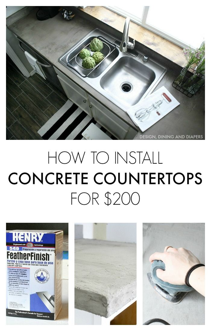 How to Install Faux Concrete Countertops Using Ardex Feather Finish! Entire kitchen costs her $200! designdininganddiapers.com