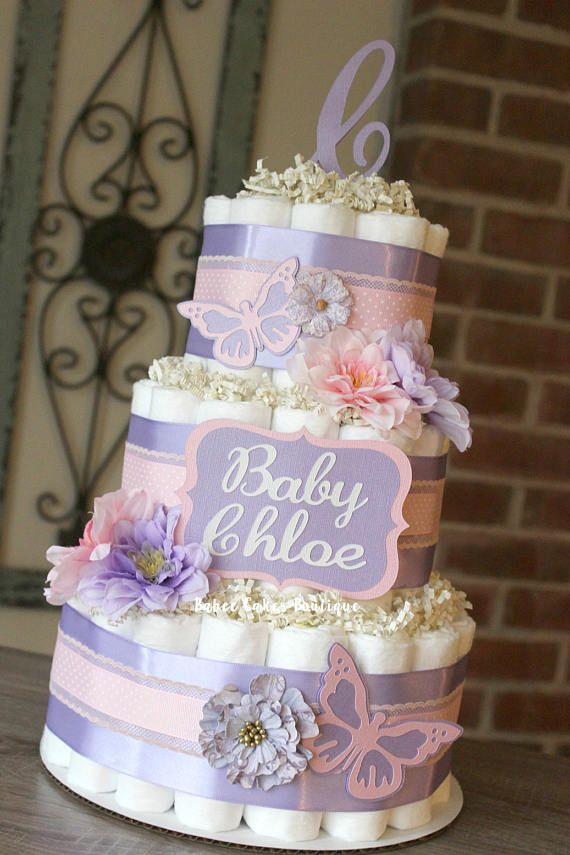 3 Tier Shabby Pink and Lavender Butterfly Diaper Cake Spring