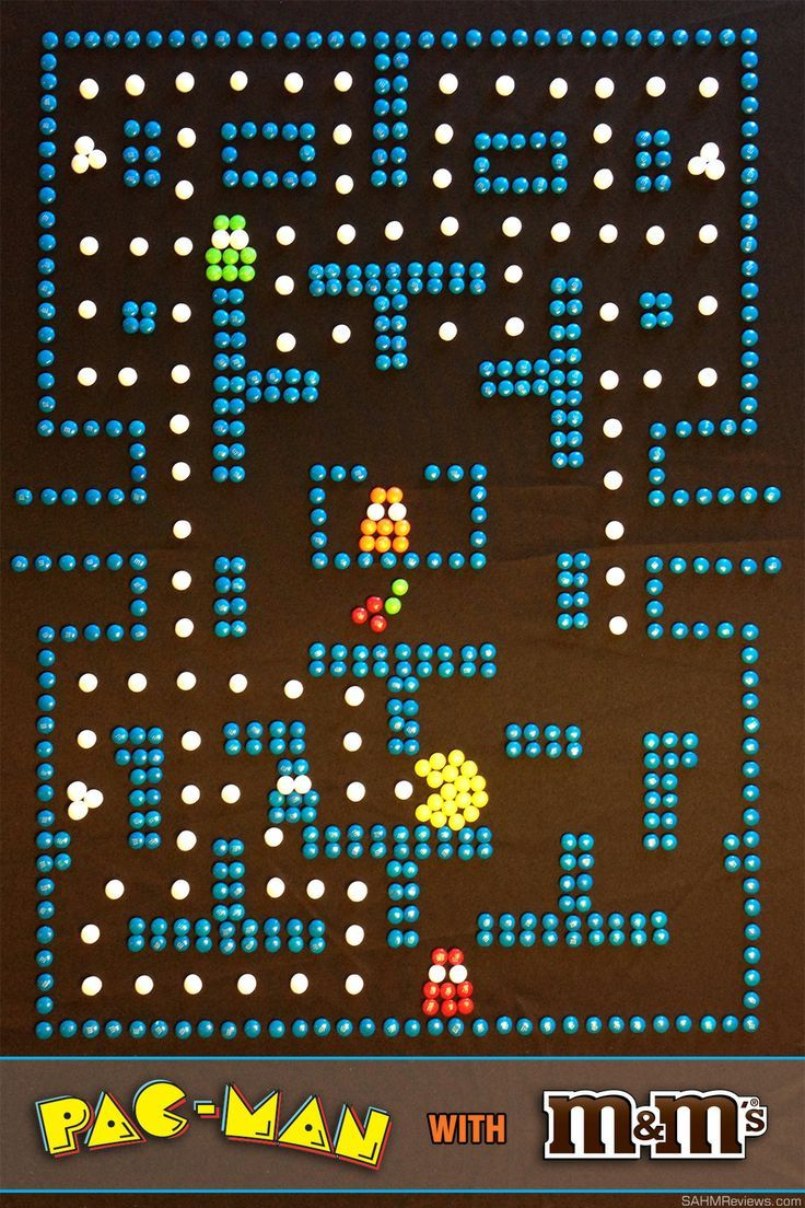 Using M&M's to make a full Pac-Man game board - SahmReviews.com