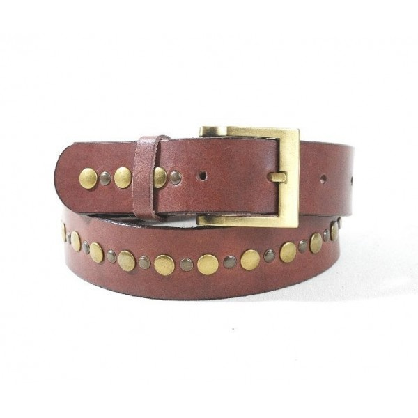 Leather belt decorated with one row of different type of rivets, 40 mm width.