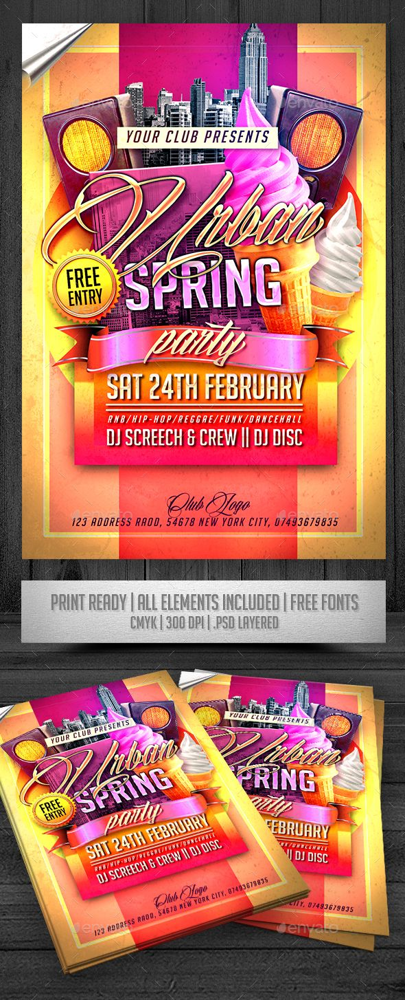 urban spring party flyer print templates flyers events to make