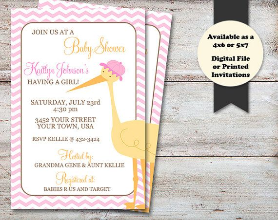 Stork Baby Shower Invitation, Itu0027s A Girl Baby Shower, Itu0027s A Girl  Invitation,