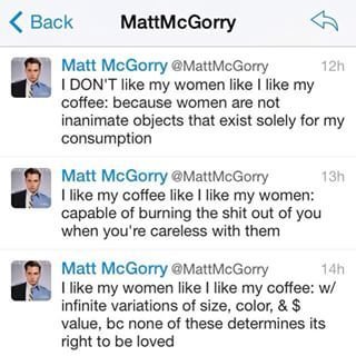 When he combined his two loves, feminism and coffee: | Community Post: 18 Times Matt McGorry Proved He's The Man Of Your Dreams