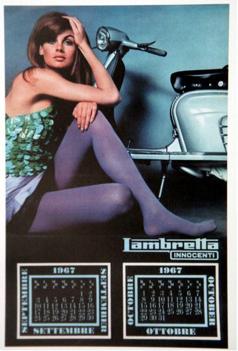 "Jean Shrimpton in a 1967 Lambretta calendar (via: raygungothic) """""