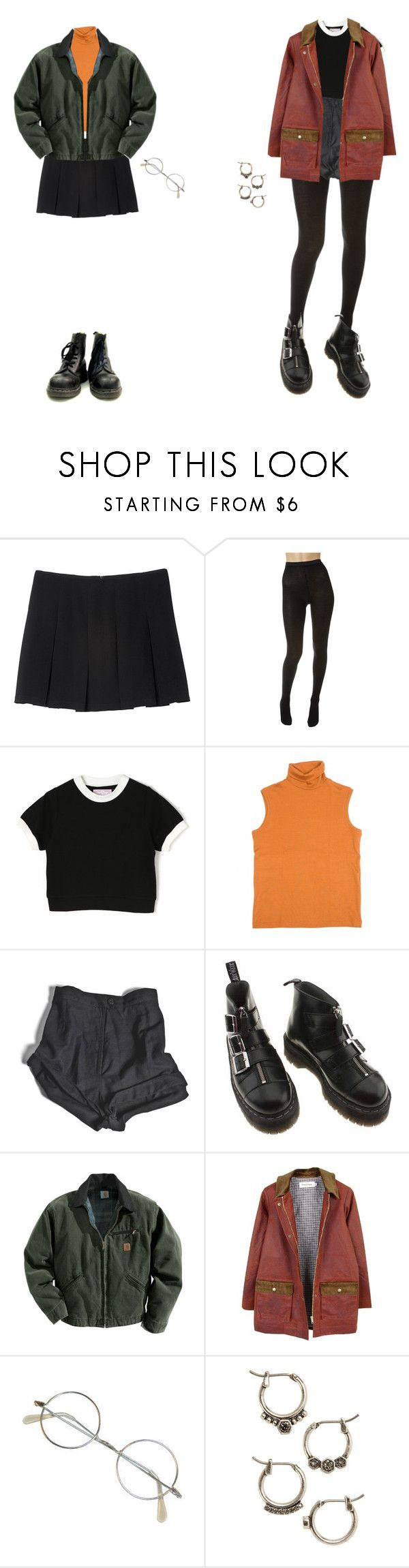 """daria and jane inspired"" by luisaxx ❤ liked on Polyvore featuring Monki, Wolford, Hermès, My Mum Made It, Dr. Martens, Carhartt, FrenchTrotters, Masquerade and Luv Aj"