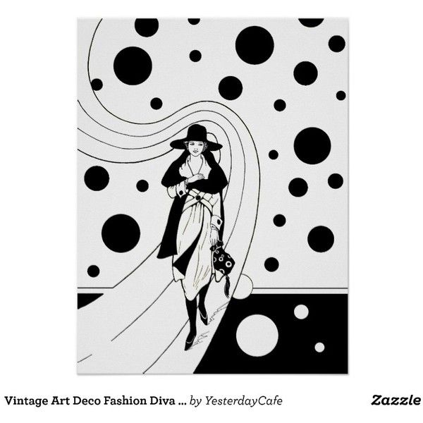 Vintage Art Deco Fashion Diva Woman Polka Dots Poster (€16) ❤ liked on Polyvore featuring home, home decor, backgrounds, polka dot home decor and black home decor
