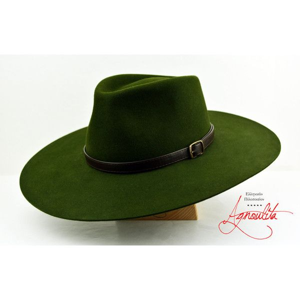 Loden Green Low Crown Teardrop Outdoor Fedora Wide Brim Rabbit Fur... (72.980 CLP) ❤ liked on Polyvore featuring men's fashion, men's accessories, men's hats, mens wide brim hats, mens fedora, mens felt fedora and mens fedora hats