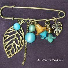 Broche - epingle breloques bronze & turquoise - envolée nature