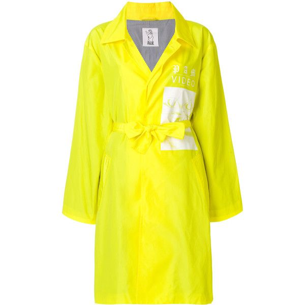P.A.M. graphic print belted coat (1.510 RON) ❤ liked on Polyvore featuring outerwear, coats, yellow, belted coat, coat with belt, yellow coat and belt coat