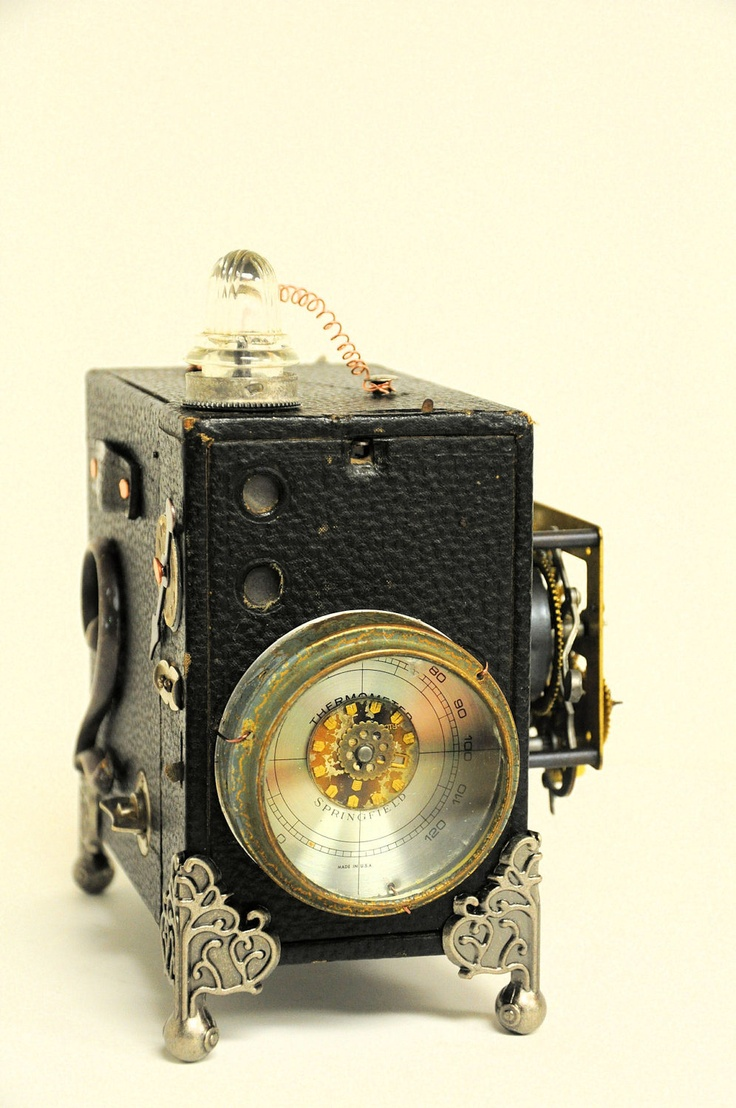 Brownie camera steampunk assemblage mixed media altered art clock parts. $150.00, via Etsy.: Brownie camera steampunk assemblage mixed media altered art clock parts. $150.00, via Etsy.