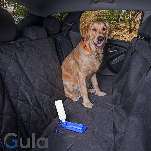 Gula Deluxe Dog Seat Covers For Cars - Dog Car Seat Hammock Convertible Universal Fit Extra Side Flaps Non Slip Waterproof Pet Seat Cover Black - Bonus Free Water Dispenser for Dogs