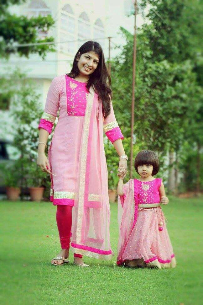 Pin By Pavani Raavi On Anarkali Mom And Baby Dresses