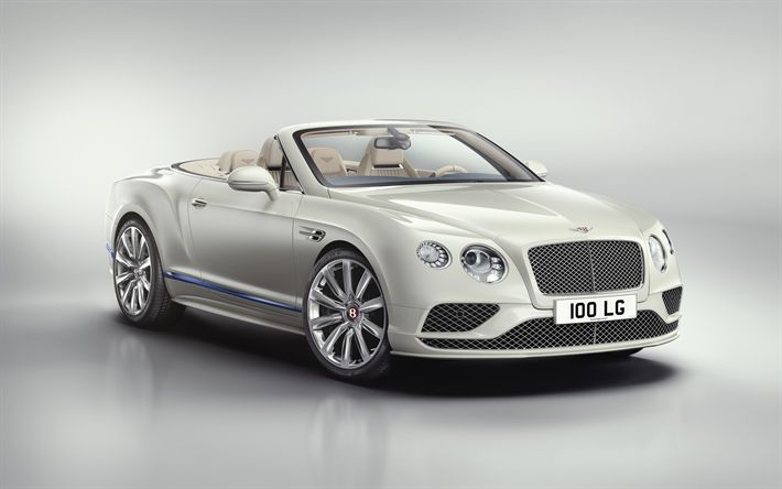 Download wallpapers Bentley Continental, 2017, White cabriolet, new cars, luxury convertible, Bentley