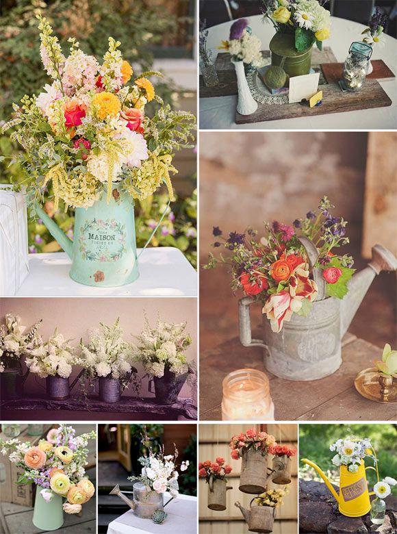 Decoración de bodas con regaderas vintage: Preciosas ideas para decorar tu boda con regaderas vintage y arreglos florales.