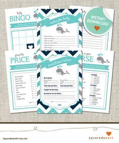 Whale Baby Shower Games Whale Games Whale Teal by SquaredHeartDIY