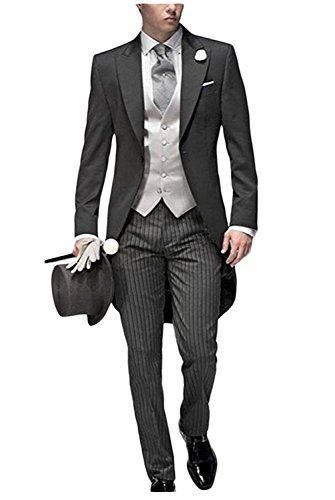 87b5b2b69ba JYDress Mens Tail Tuxedo 3 Pieces Tailcoat Suit Gray Groom Tuxedos Wedding  Suit in 2018