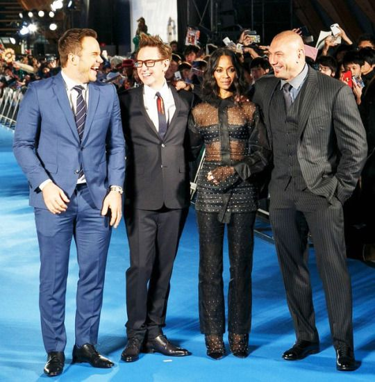 Chris Pratt, Zoe Saldana, Dave Bautista and director James Gunn attend the 'Guardians of the Galaxy Vol.2' red carpet at Brillia Running Stadium on April 10, 2017 in Tokyo, Japan.