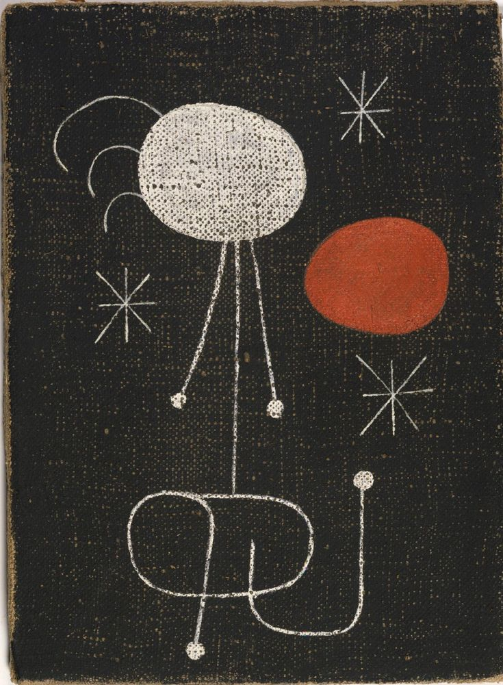 Joan Miró | Woman in Front of the Sun | 1944 | Oil and aqueous medium on burlap |13 1/8 x 9 5/8 inches (33.3 x 24.4 cm)