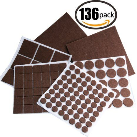 Felt Pads,Raniaco 136 Pieces Furniture Protector Felts Pads with Durable Self-Stick Adhesive ,Hardwood Floor Protector Pads with Assorted Sizes -Brown, 2016 Amazon Hot New Releases Tapes, Adhesives & Sealants  #Industrial