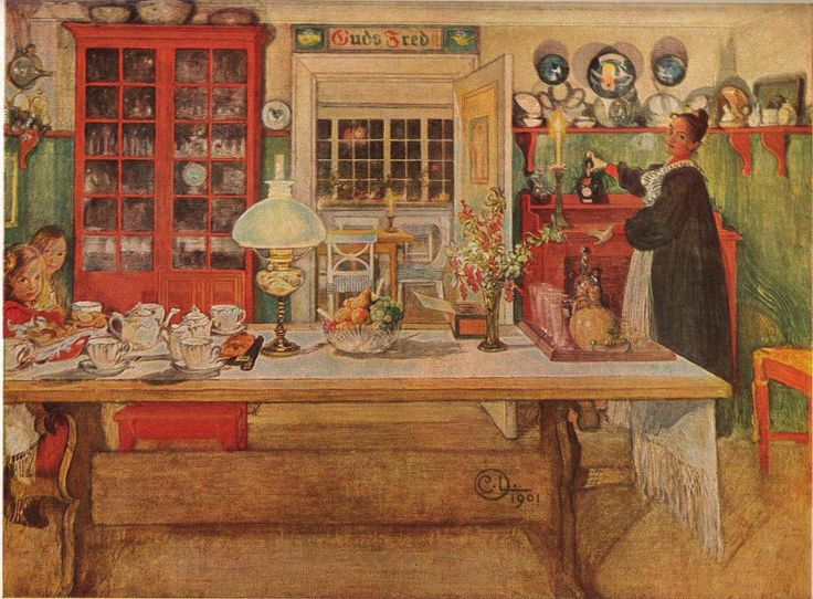 Getting Ready For A Game Of Cards Painting Swedish Artist Carl Larsson 1901