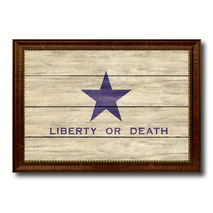 Liberty or Death Flag Goliad Texas Battle Independence Military Flag Texture Canvas Print with Brown Picture Frame Home Decor Wall Art Gifts