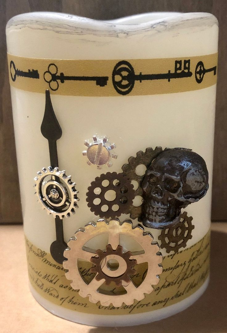 Industrial Steampunk themed battery operated candle 3x4 pillar Replacement batteries can be bought @ the dollar tree