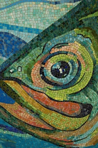 New York subway mosaic art closeup