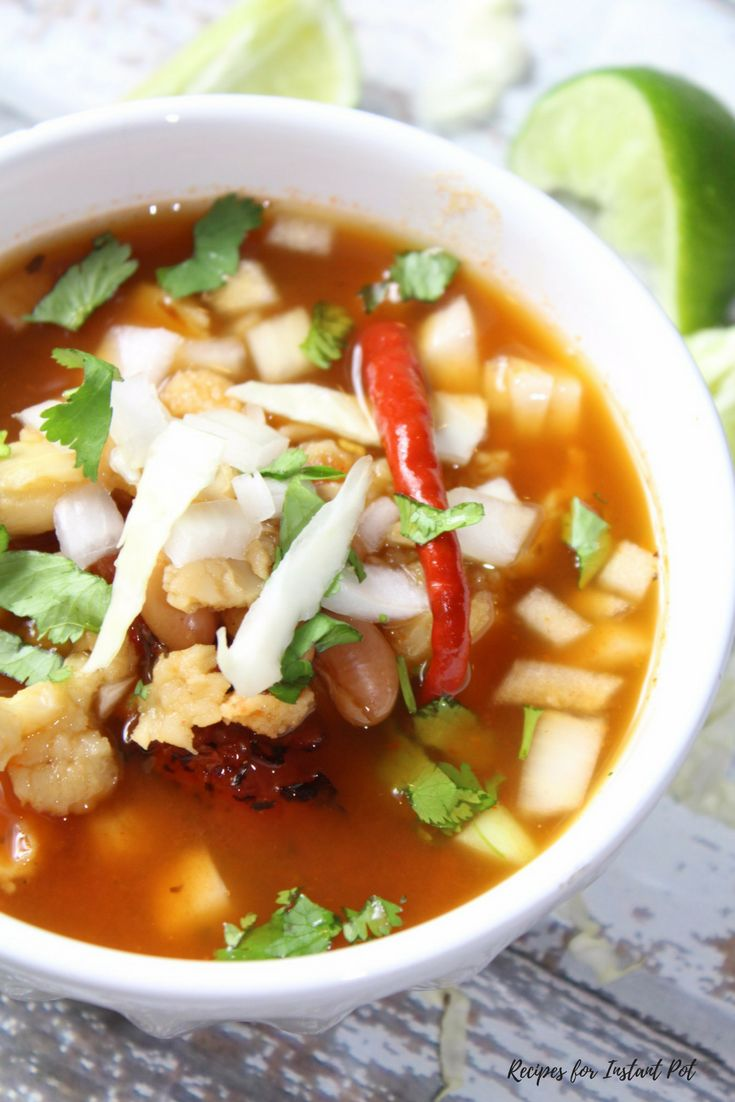 A meatless alternative to traditional Mexican posole, this vegetarian posole combines chile with fire roasted diced tomatoes, pinto beans and hominy.